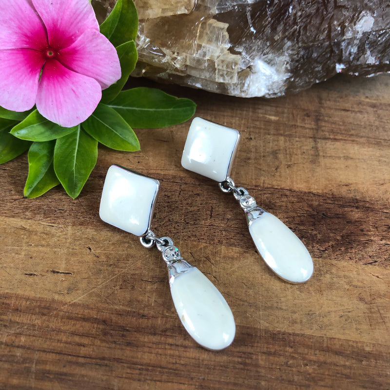 White and Silver Dangle Earrings
