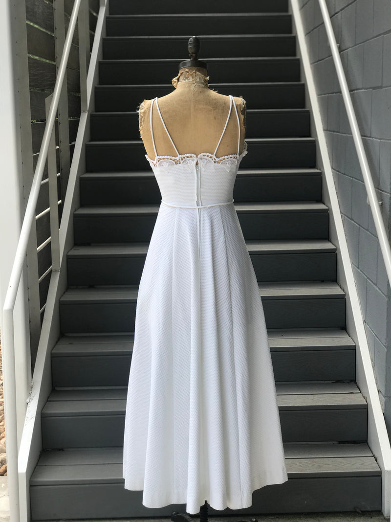 "1970s ""Lanz"" White Cotton Dress"
