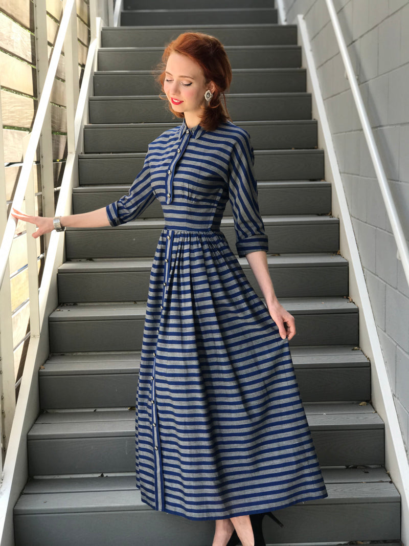 1940s Petite Heather + Navy Striped Dress