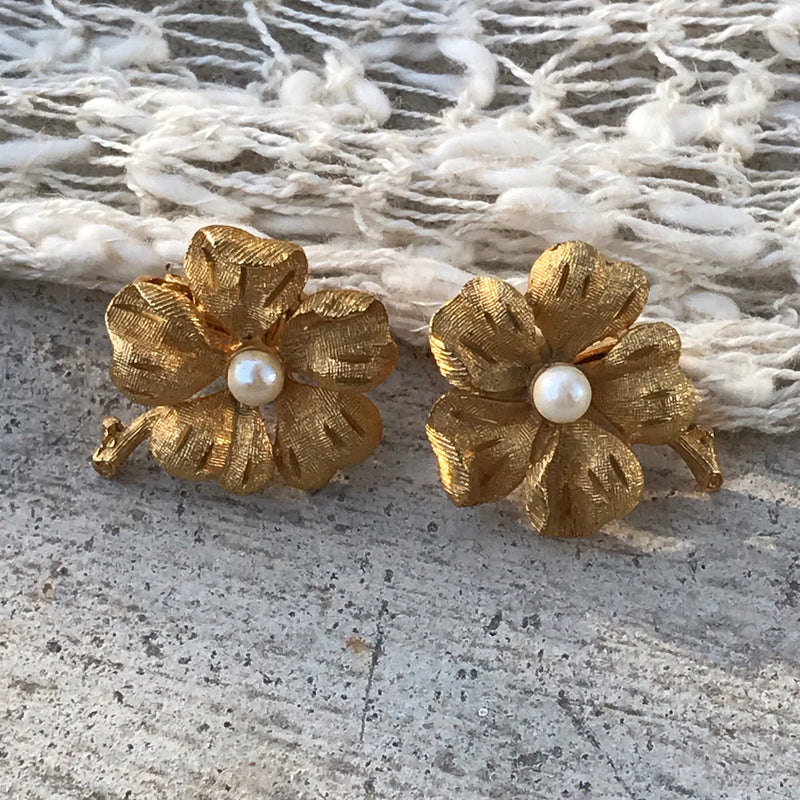 1960s Brushed Gold Flower Clip Earrings