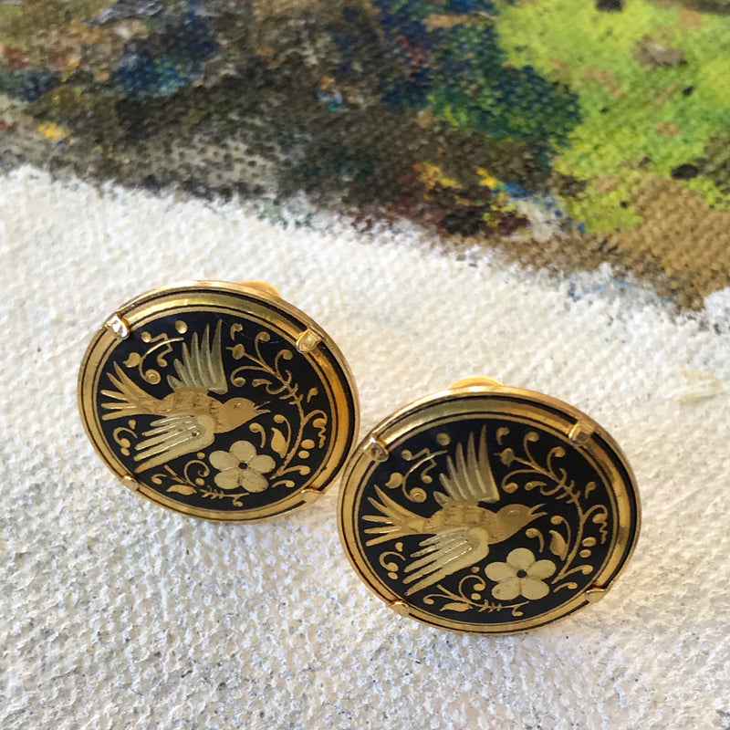 Black and Gold Damascene Dove Earrings