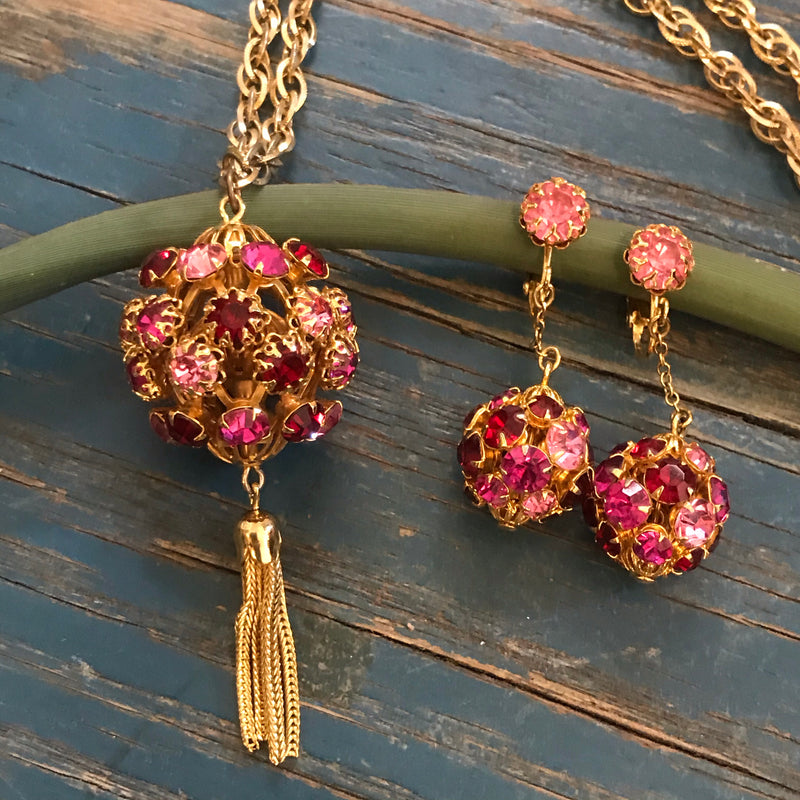 Shades of Pink Disco Ball Necklace and Earrings
