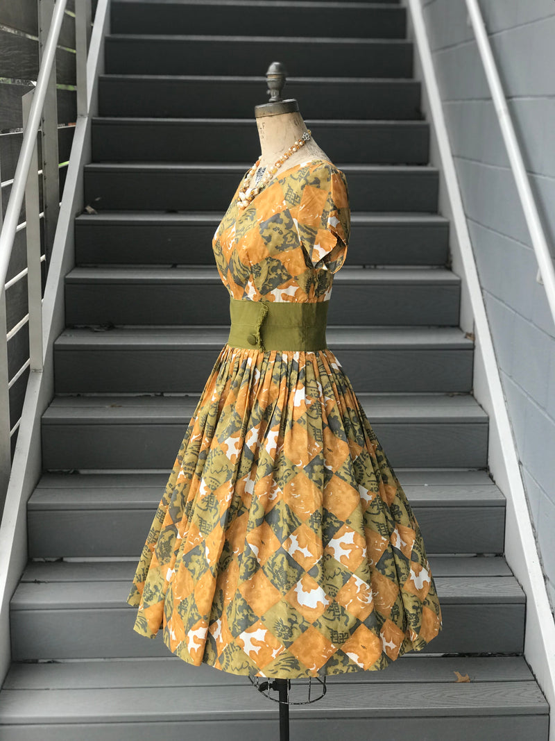 "1950s ""Betty Barclay"" Amber + Olive Argyle Dress"