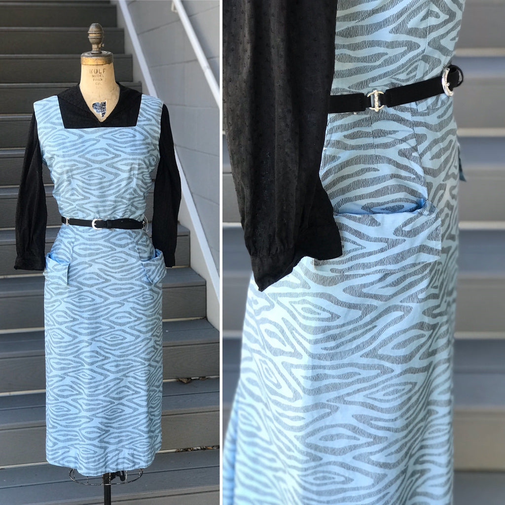 1980s Blue Damascus Steel Printed Dress