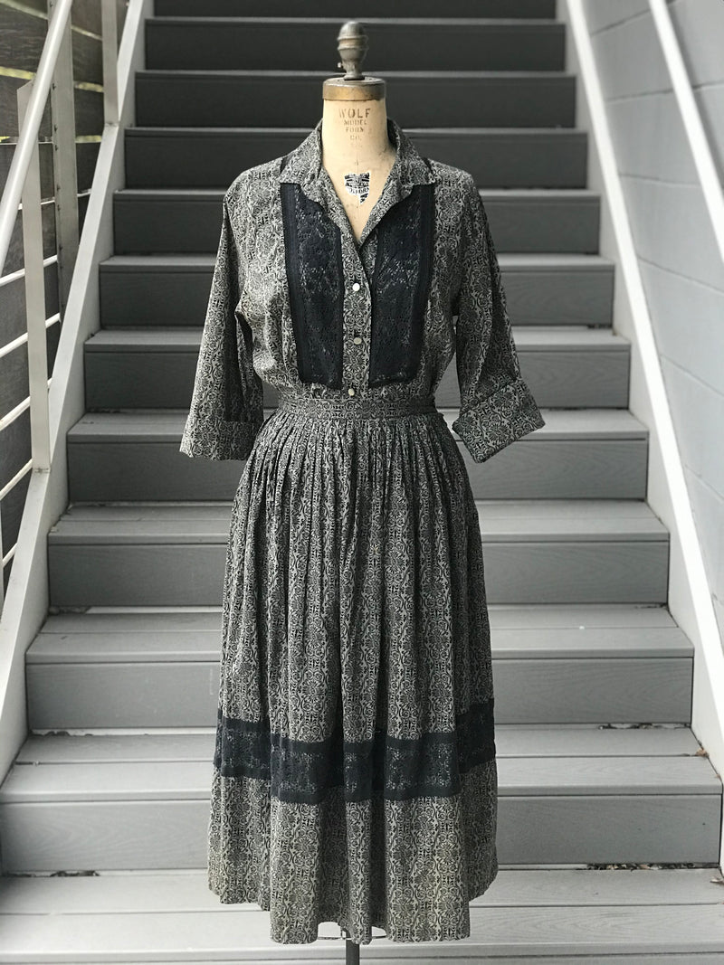 1950s Monochrome Acanthus Printed Western *SET*