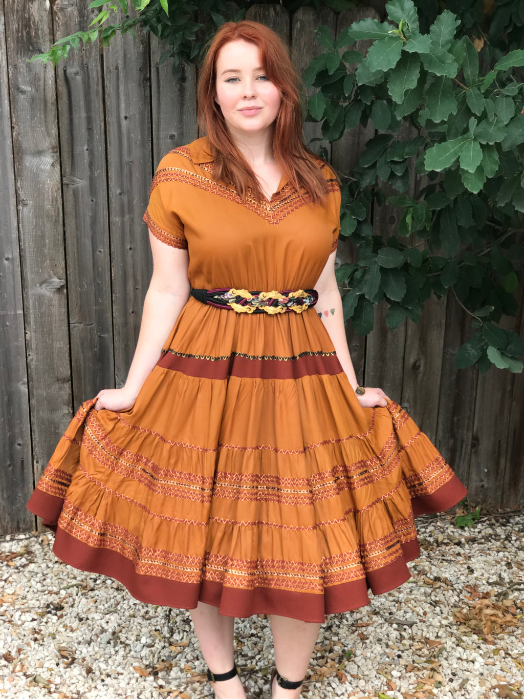 "*RESERVED* 1950s Bronze ""Rick-Rack"" Patio Dress"