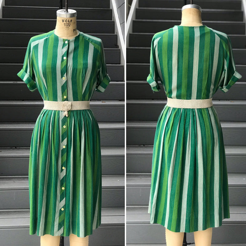 1950s Green Stripe Cotton Shirt Dress