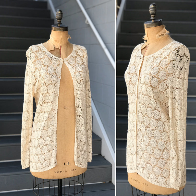 "1950s ""Rosie the Ribboner"" Knit Crop Jacket"