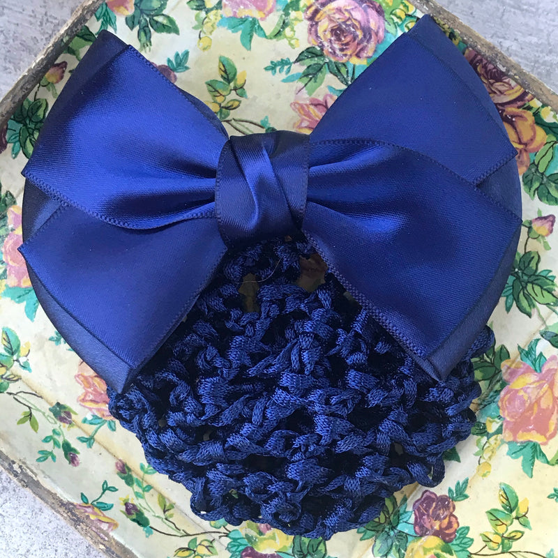 Reserved: Blue Hair Bow with Attached Snood