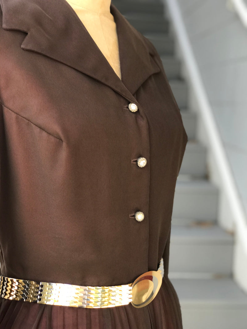"1970s Brown Chiffon ""Miss Elliot"" Jumpsuit"