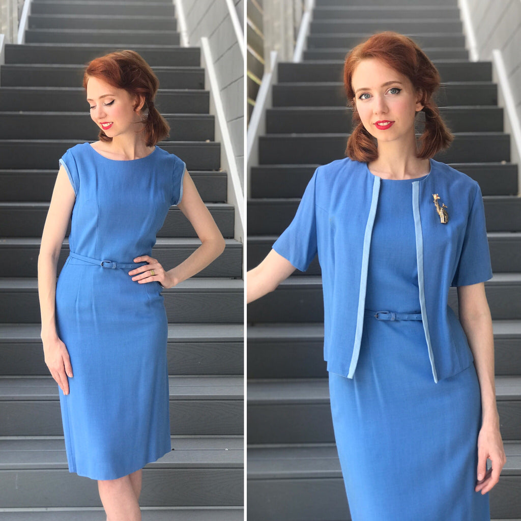 1950s Waterscape Linen Jacket + Dress *SET*