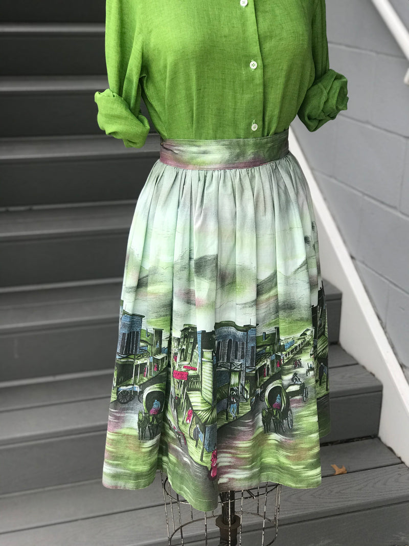 "*COLLECTIBLE* ""John Wolf"" Tombstone, AZ Novelty Print Skirt"