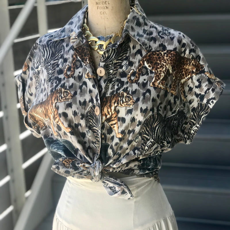 RESERVED 1980s Animal Safari Printed Button Down Blouse