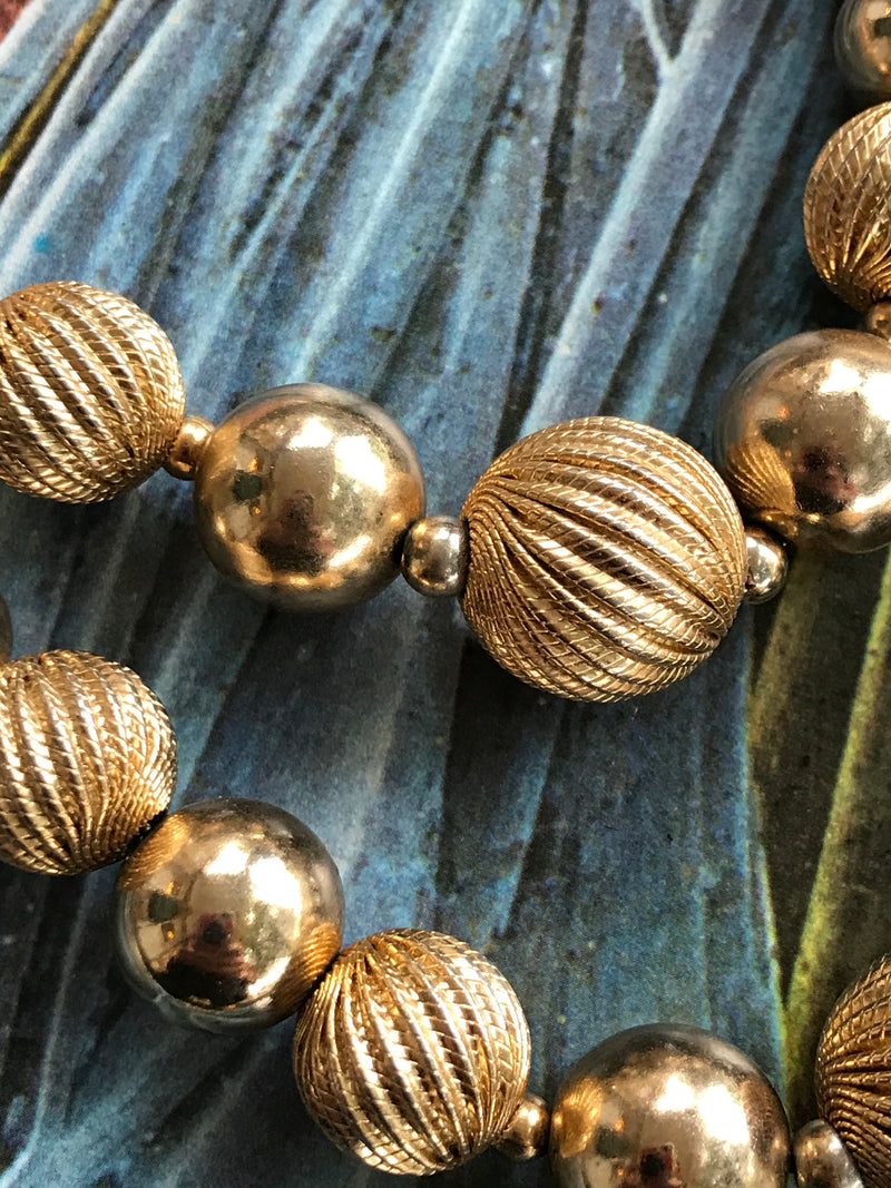 "Vintage ""MONET"" Textured Gold Ball Necklace"