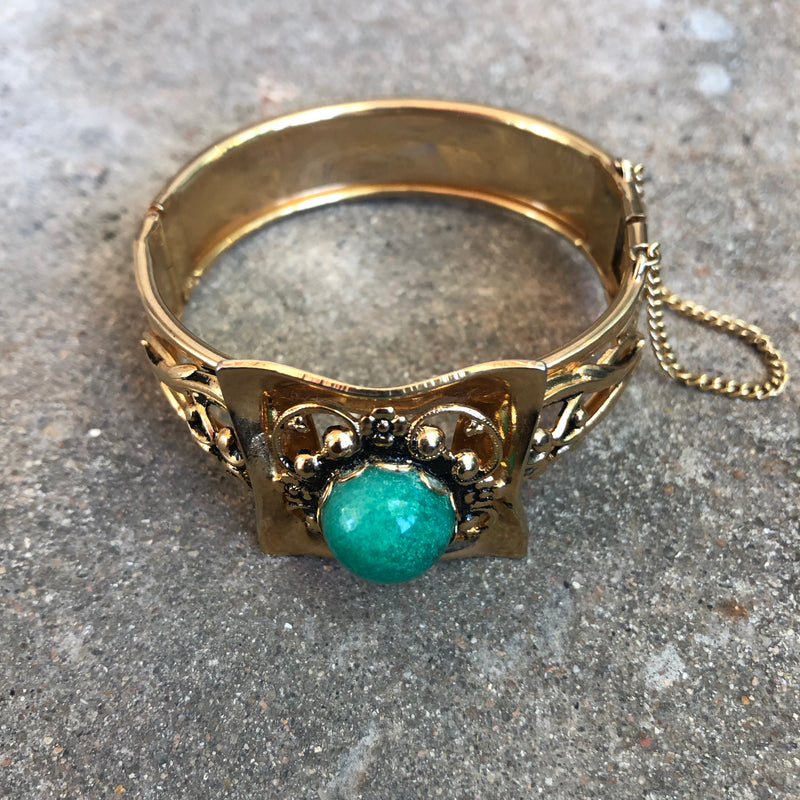1970s Gold Tone Statement Cuff Bracelet with Green Center