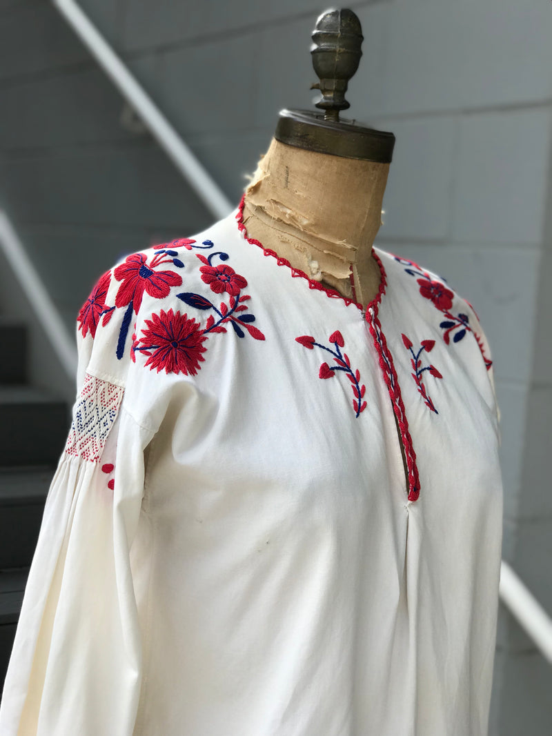 1960s Embroidered + Smocked Cotton Blouse