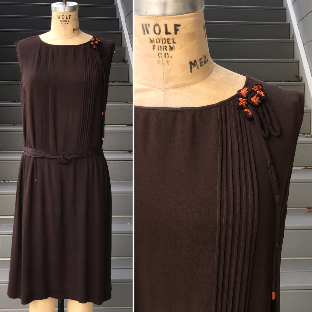 1920s Chocolate Brown Flapper Dress