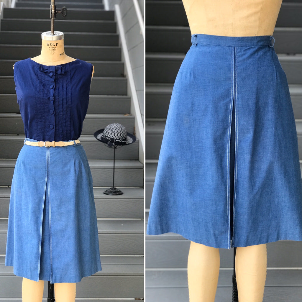 1970s Blue Chambray Full Skirt