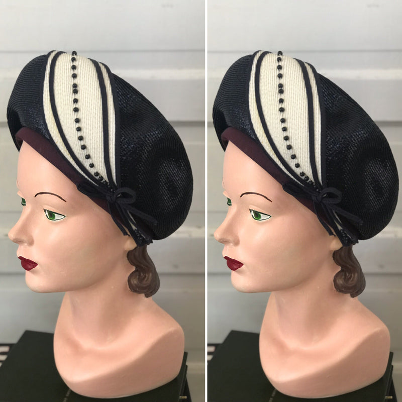 "1960s Navy + White ""Bellini"" Straw Hat"