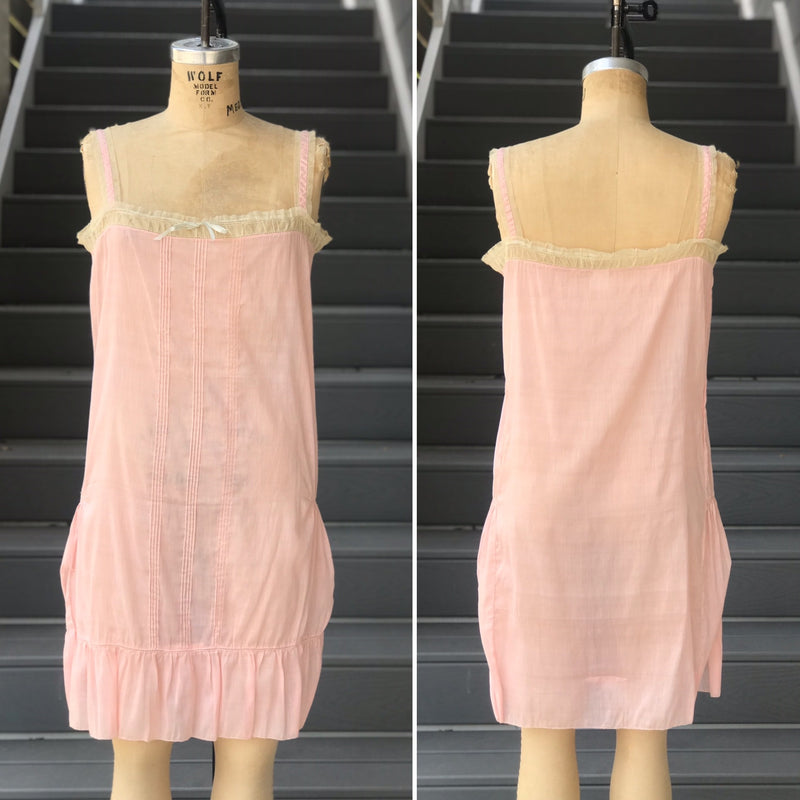 1930s/40s Pink Rayon Bias Cut Slip Dress/Nightgown