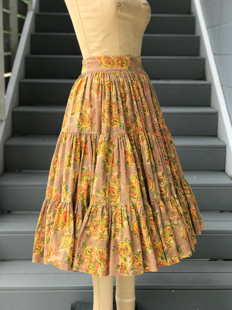 1950s Orange Rose Print Full Tiered Skirt