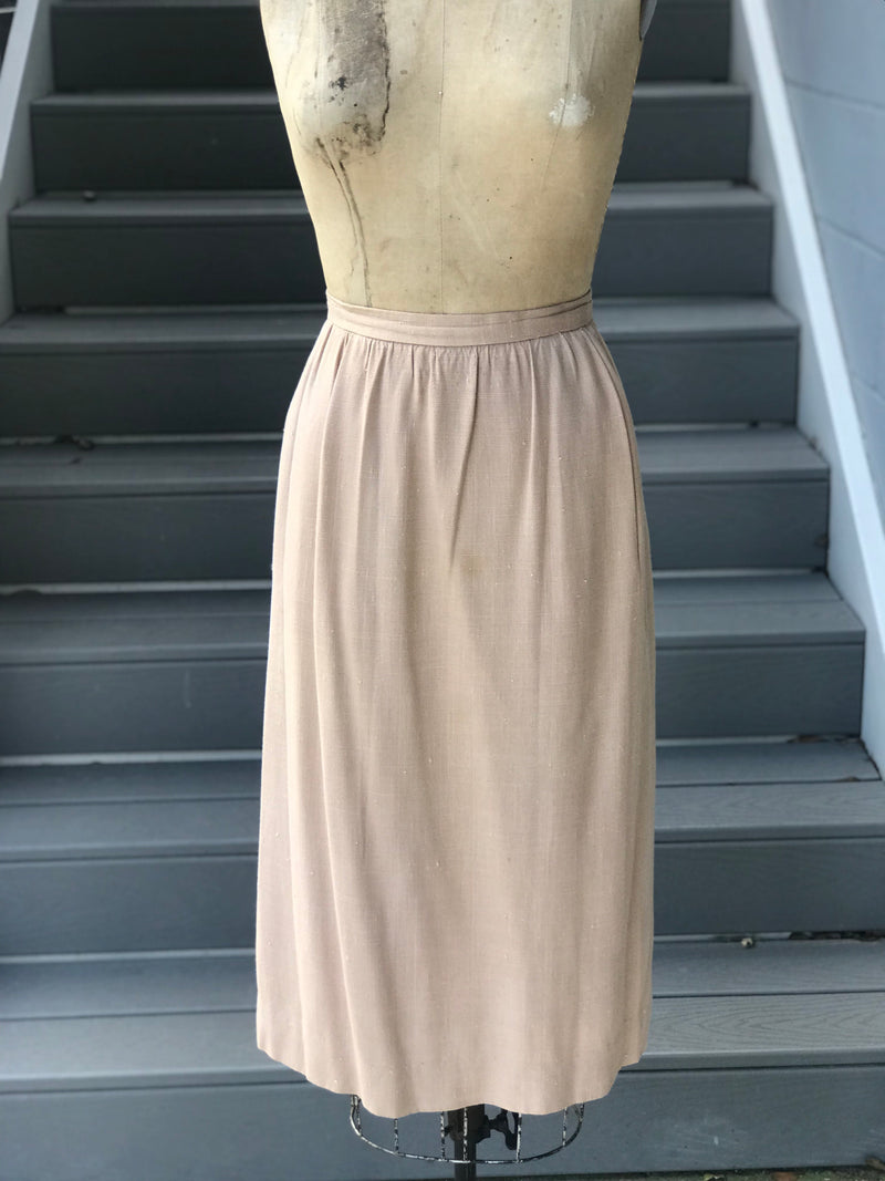 "1990s ""Halston"" Tan Linen Pencil Skirt"