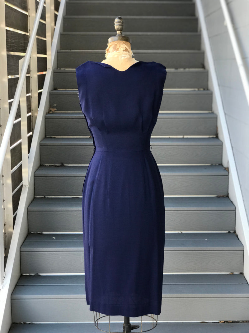 1950s Linen Ink Sheath Dress