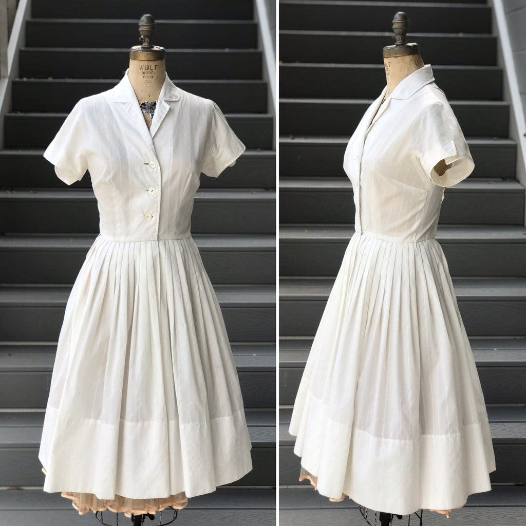 1950s Subtle Stripe Baseball Dress