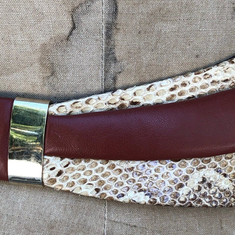 1980s Brown Leather and Snakeskin Belt
