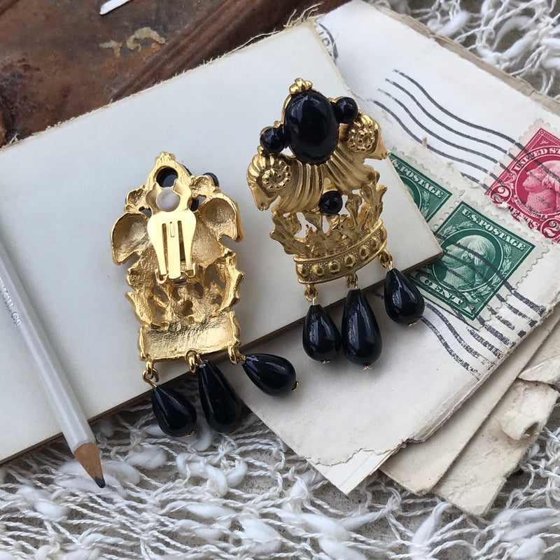 Rams Heads Black and Gold Dangle Statement Clip Earrings