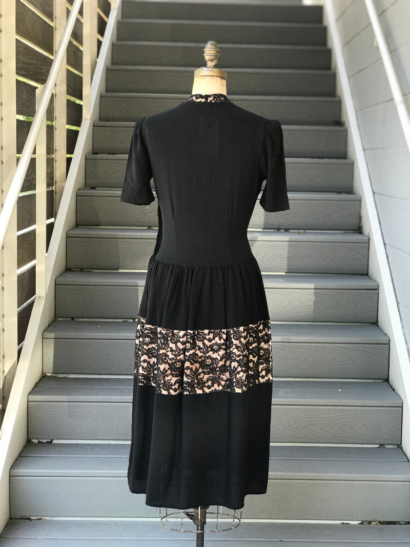 1940s New York Creations Black Rayon Nude Illusion Dress