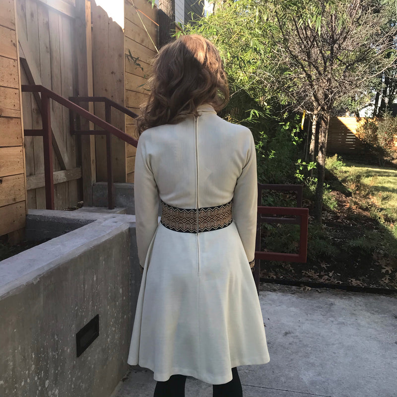 1970s Long Sleeve Cream Dress
