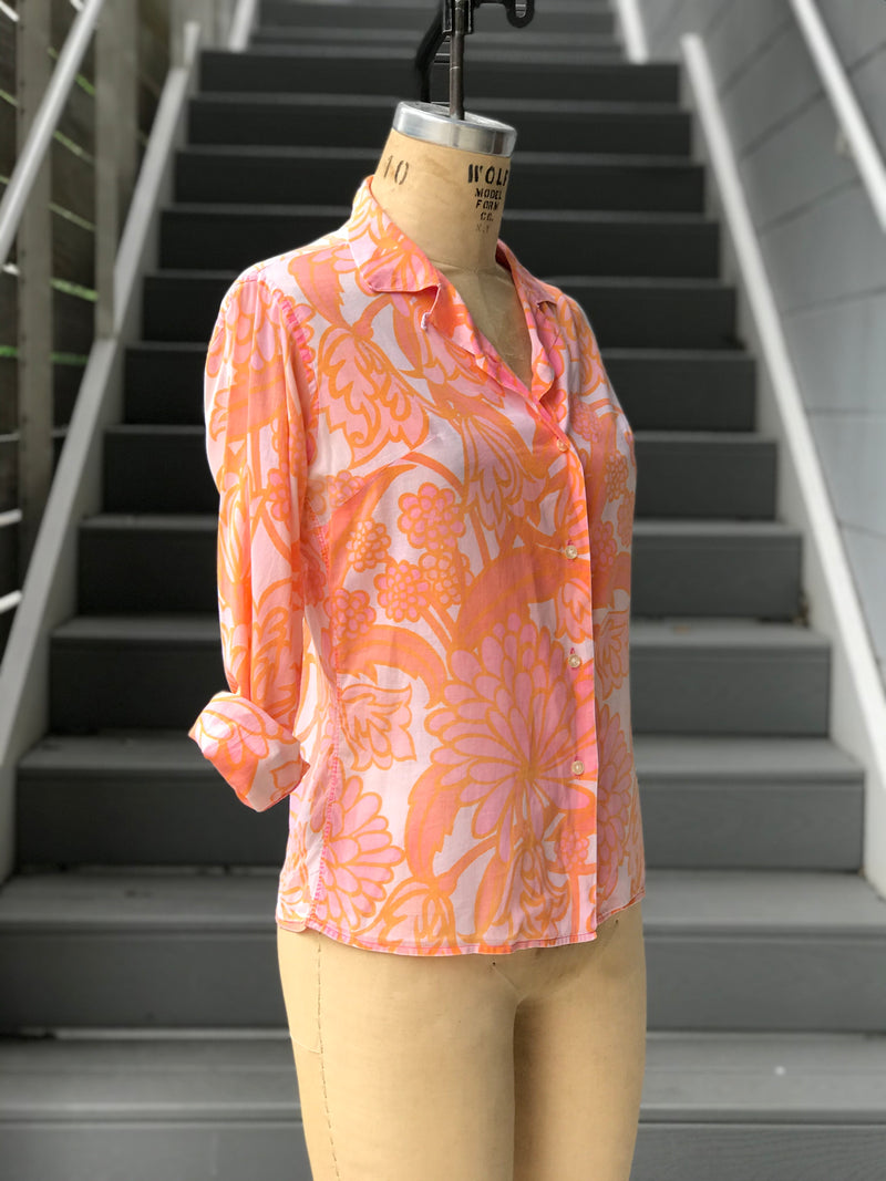 1960s Paper Thin Sheer Orange Long Sleeve Blouse
