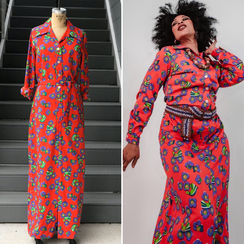 1970s Red Tumbleweed Maxi Dress