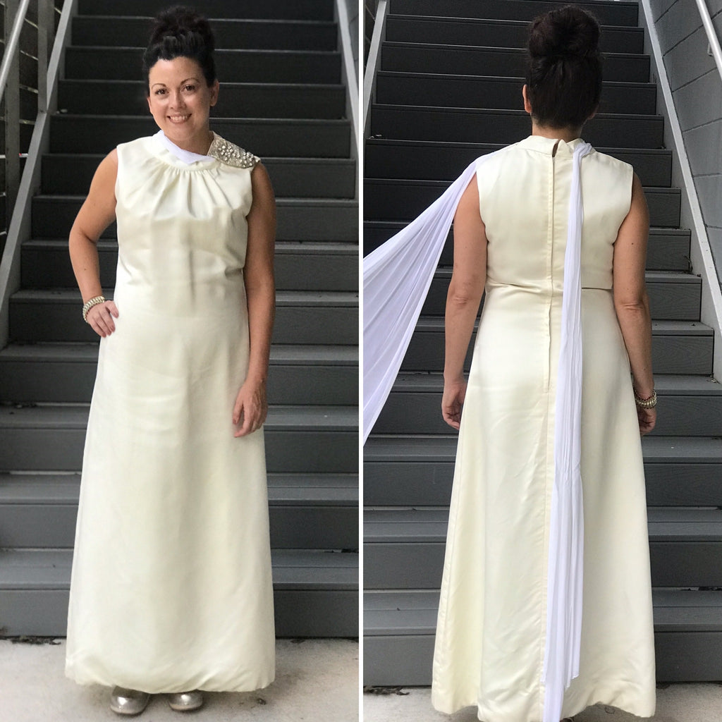 Late 1960s/early 1970s  Eggshell White Satin Dress with Sash