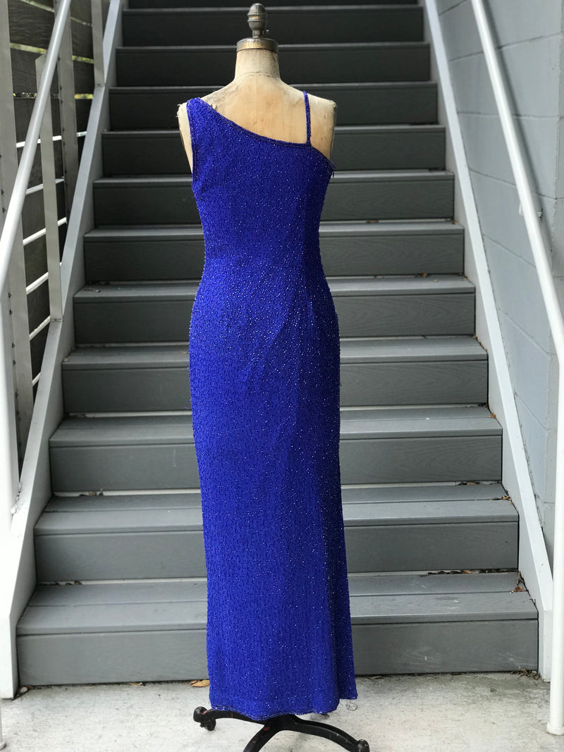 1990s True Blue Beaded Asymmetrical Orb Gown