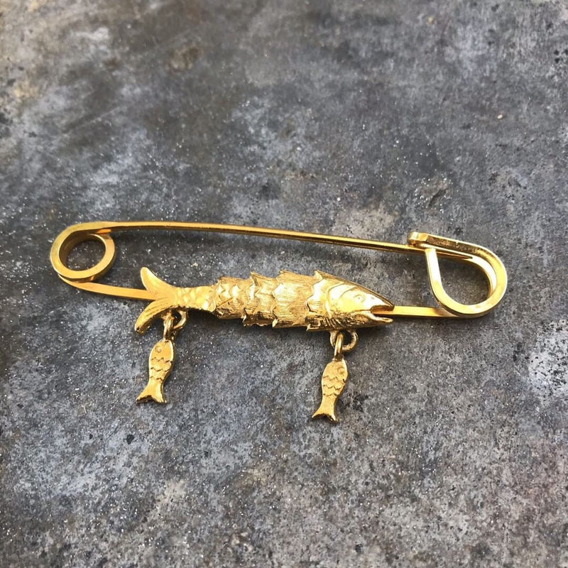 Fish Safety Pin Brooch