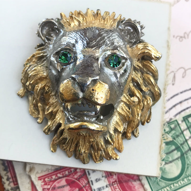 ROAR! Two Tone Lion Head Brooch