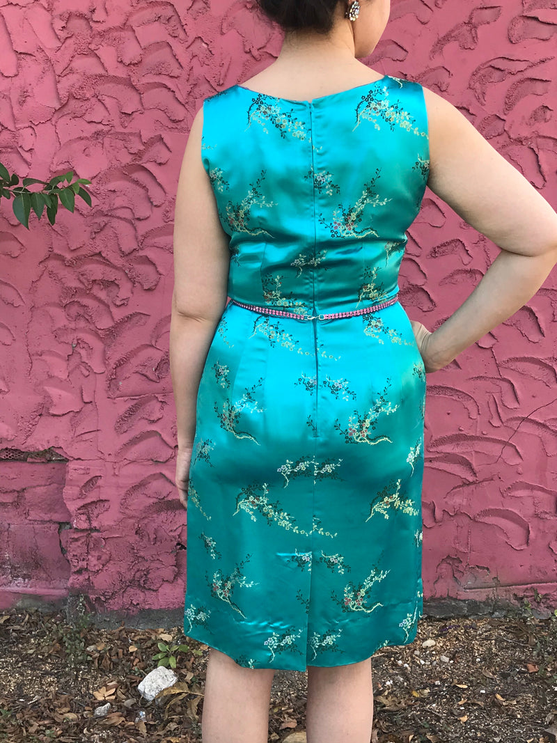 1960s Asian Inspired Silk Satin Cocktail Dress