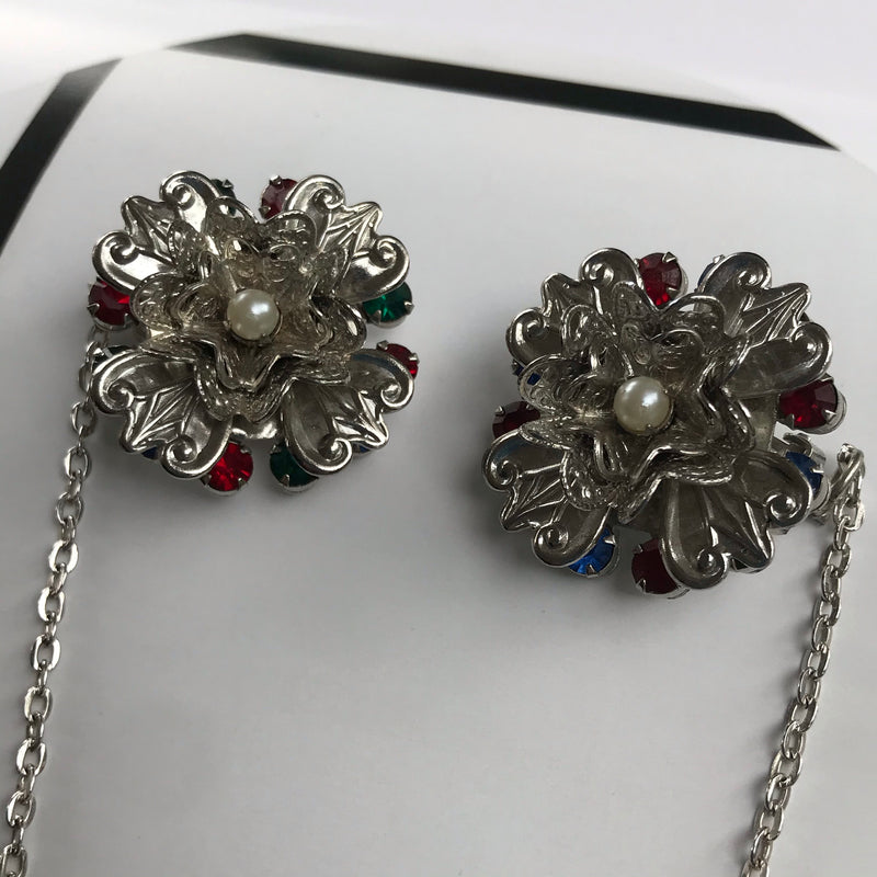 1940s Silver Flower Sweater Clip