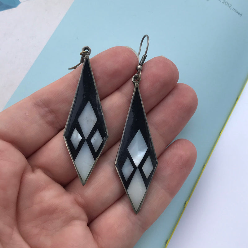 Black and Mother of Pearl Mexican Silver Dangle Earrings