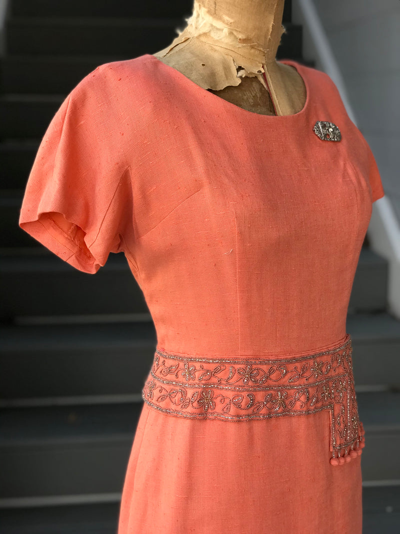 1950s Sunset Silver Waist Linen Sheath