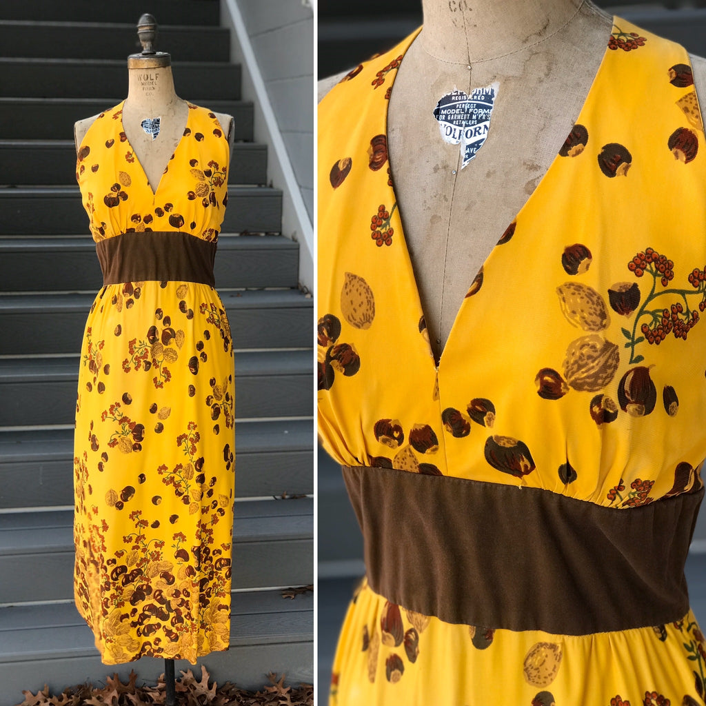 1970s Squash Yellow Hazel + Walnut Seed Dress