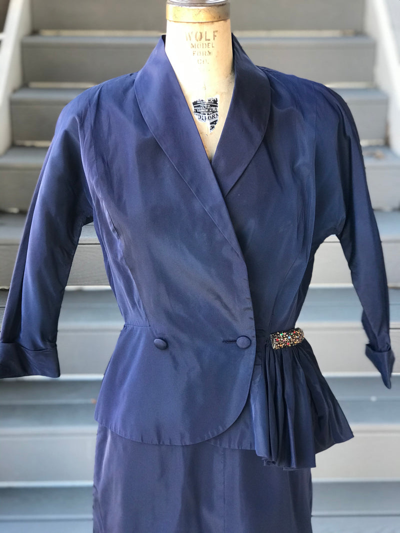 1940s Navy Taffeta Suit *SET* + Rainbow Detail
