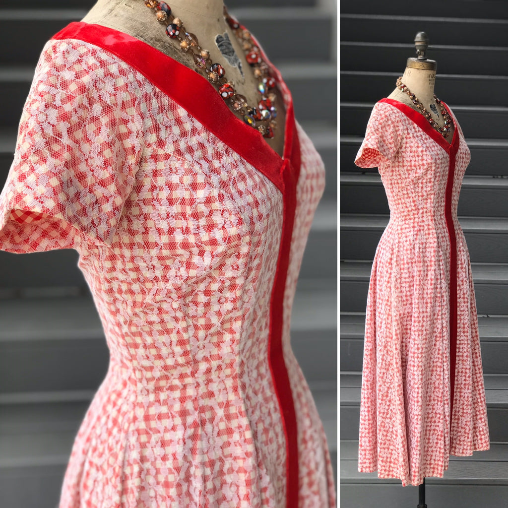 1950s Red Gingham + Lace Overlay Dress