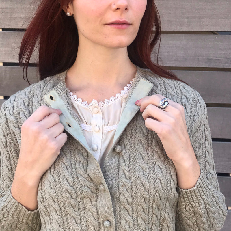 1960s Cable Knit Wool Cardigan