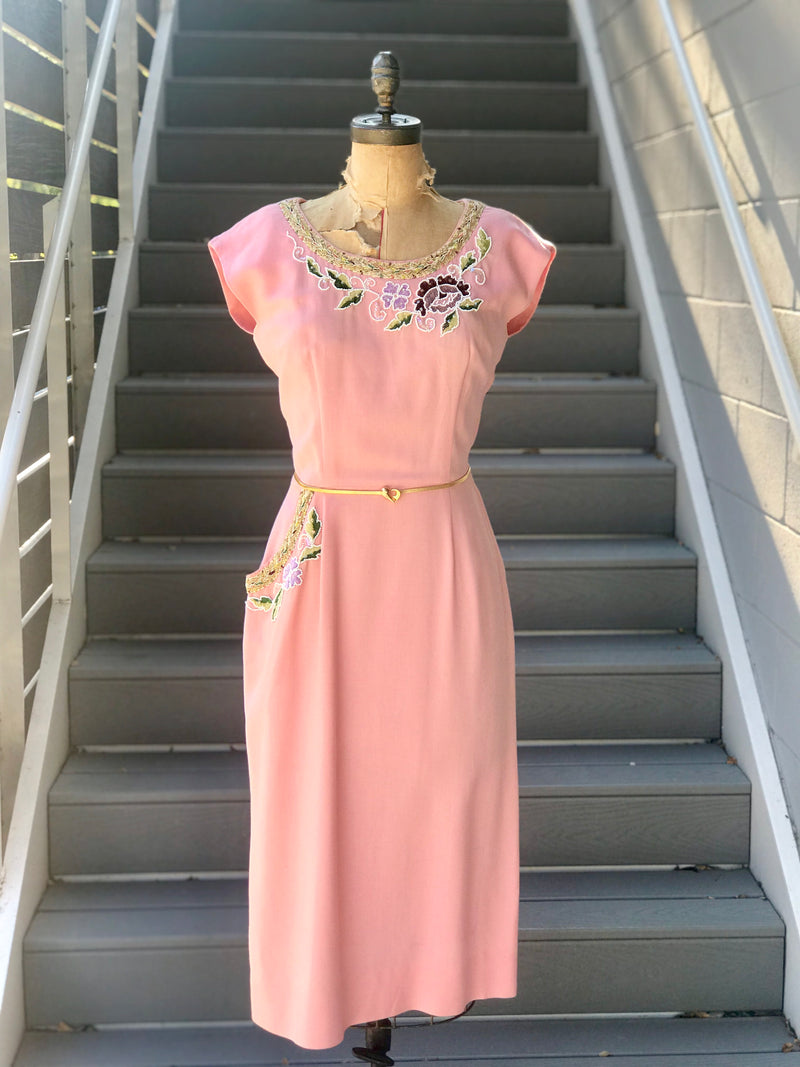 "1950s ""Kramer"" Asymmetrical Pocket + Floral Detailed Dress"