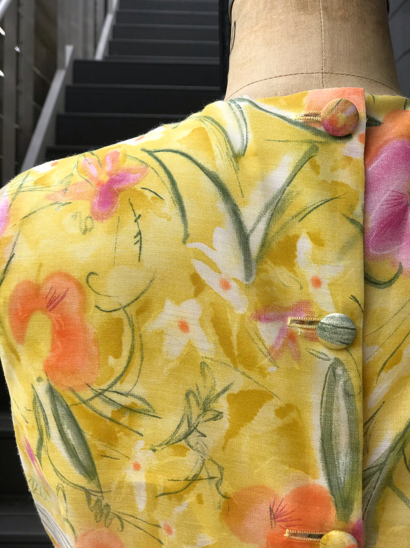 1960s Yellow Floral Button Back Blouse