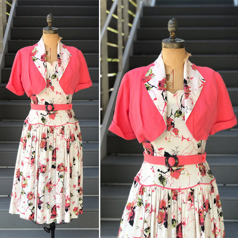 *RESERVED* 1950s Coral Floral Drop Waist Dress + Jacket *SET*