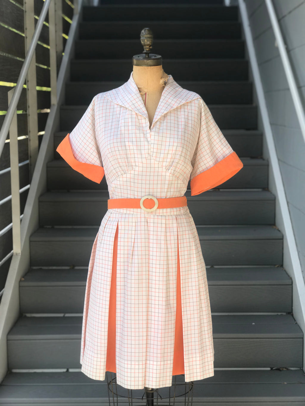 *RESERVED* 1960s Texas Orange Plaid Dress